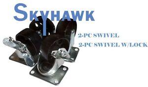 """4pc 3"""" 1400lb-Cap ALL-STEEL WIDE WHEEL SWIVEL TOP PLATE CASTER SET w/ 2 Locking"""