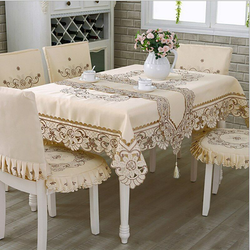 Tableau toile coton & polyester carré floral brodé nappes de table decor