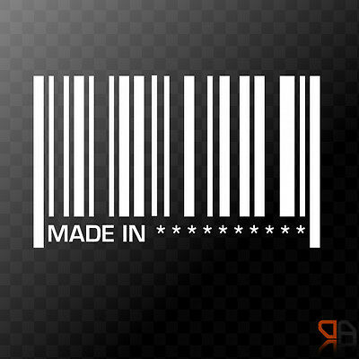Made in YOUR TEXT Barcode - Custom Personalized Vinyl  Decal Sticker  - 145mm