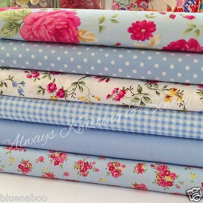 fat quarter bundle BLUE FLORALS & fabrics per 1/2 metre 100% cotton poplin
