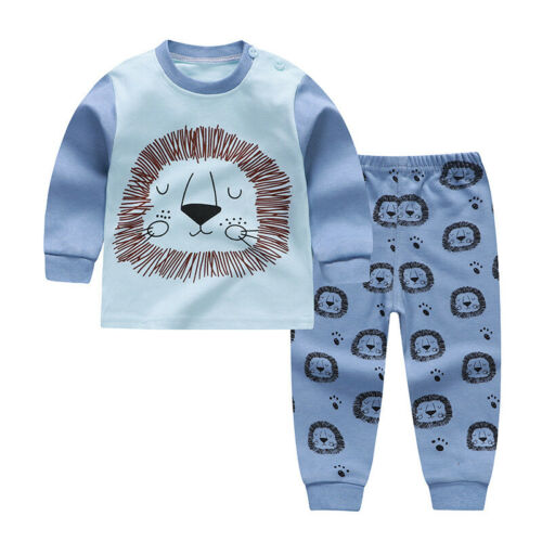 Girl Boy Kid Baby Soft Cotton Long Sleeve Pajamas Nightwear Outfit for 6-36Month