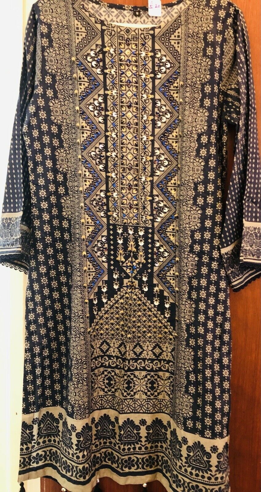 Pakistani Dresses.Printed Lawn Kurti With Sequins Work And Tassels.