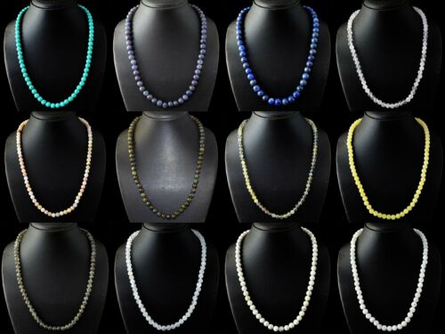 Natural Turquoise Lapis Lazulli NACRES Fluorite Ronde Perles Fait Main Collier