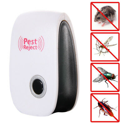 Plug in Insect Pest Repeller For Mosquitoes 6 Pack WT Ultrasonic Control For Indoor White Cockro