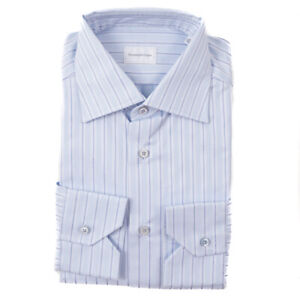 f9579cec New $395 ERMENEGILDO ZEGNA Modern-Fit Sky Blue Stripe Cotton Shirt ...