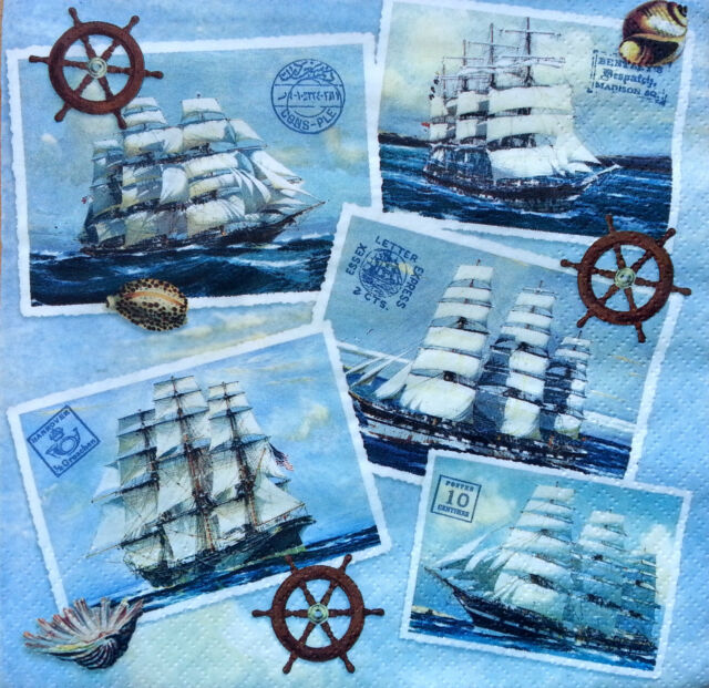 4 x Single Vintage Table Paper Napkins / Craft  / for Decoupage / SHIPS Art D29