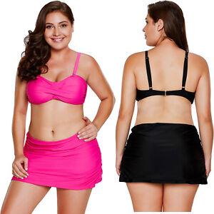 48e7f0f4dc Image is loading Rosy-bandeau-bikini-2pcs-skirtini-swimsuit-womens-swimwear-