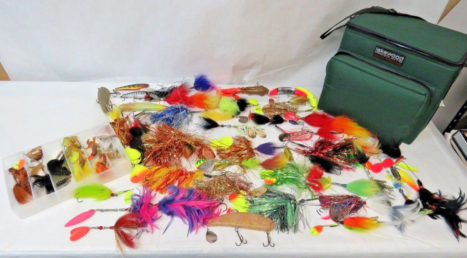 Lote de 52 Vintage Señuelos de pesca 4  - 11  Pluma de giro Lakewood producto Tackle