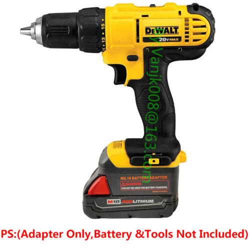 1x Milwaukee M18 Slider Li-Ion Battery Convert To Dewalt 20V XR Tools Adapter