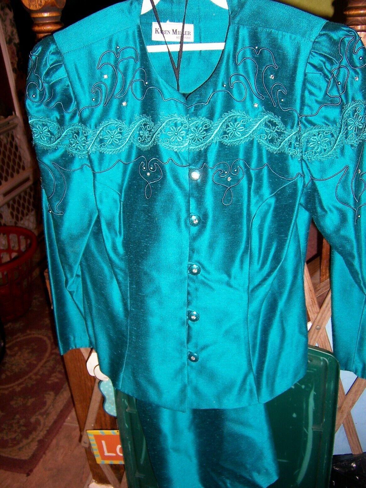 KAREN MILLER (NY) Emerald Green Embellished Evening Skirt Suit - SIZE 10