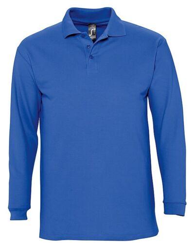 No Logo Mens Mans Plain Cotton Long Sleeve Pique Polo Shirt