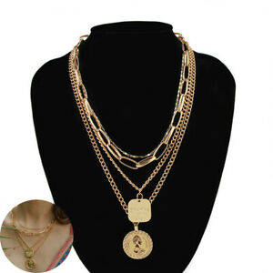 Multilayer-Clavicle-Jewelry-Women-Pendant-Plated-Necklace-Chain-Choker-Gold