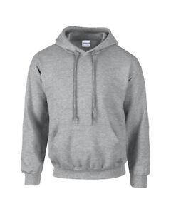 ec311cd673c2c5 Details about Sports Grey Gildan Plain Hooded Heavy Blend Sweatshirt  Pullover mens hoodie