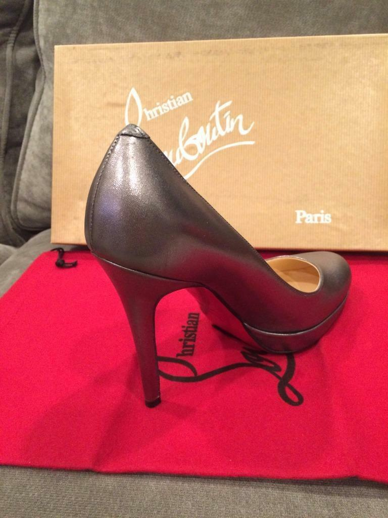 Christian Louboutin NEW SIMPLE PUMP Metallic Platform Heels shoes shoes shoes Pewter Grey 59a320