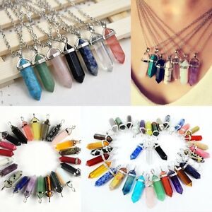 Gemstone-Natural-Stone-Crystal-Quartz-Healing-Point-Chakra-Pendant-Necklace-j-c