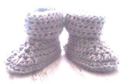 crocheted baby boys girls handmade cuffed booties silvery grey first