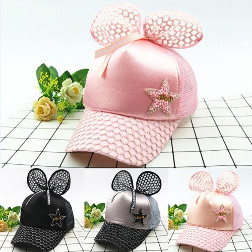 Kids Girls Bow-Knot Mesh Hip Hop Kids Cap Star Grid Hat Adjustable Snapback Caps