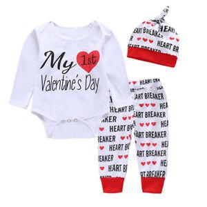 602cc86ffb8c Newborn Baby Boys Girls My 1st Valentine s Day Romper Tops Pants Hat ...