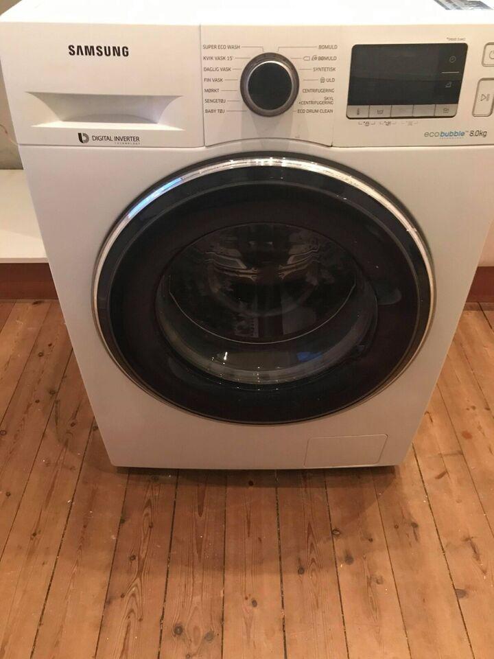Samsung vaskemaskine, eco bubble 8 kg, frontbetjent