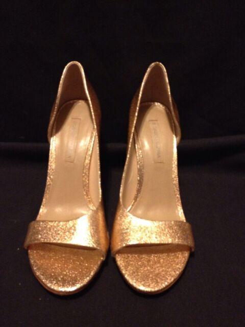 1161586a5e BCBG Max Azria Ma Jive Glitter Gold Peep-Toe Heels Sandals Woman's Size 10M