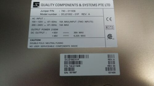 Juniper PWR-M120-AC-S-A Quality Components DCJ21002-01P M120 AC Power 740-011936