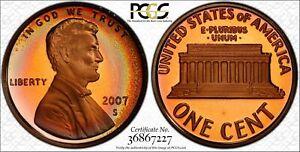 2007-S-Lincoln-Memorial-Cent-Penny-PCGS-PR68RB-DCAM-Deep-Superb-Color-Toned