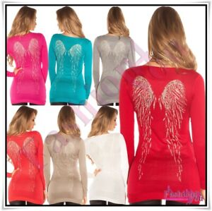 Womens-Long-Jumper-Ladies-Pullover-Angel-Wings-Jumper-Dress-One-Size-6-12-UK