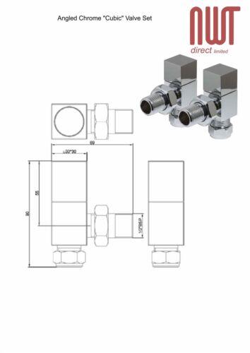 Square Head Chrome Angled Valve Set for Radiators /& Towel Rails Pair
