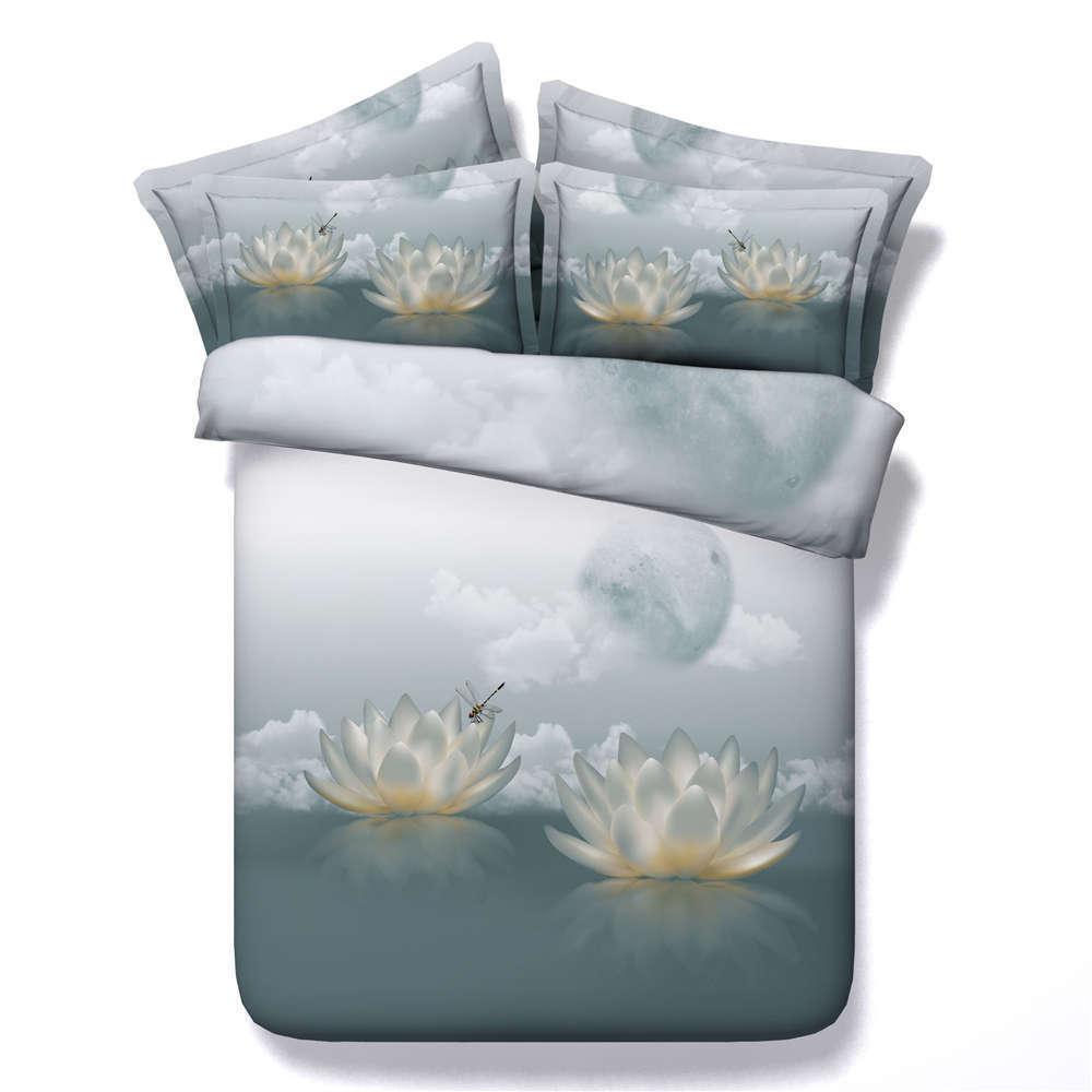 Snow Lotus Water 3D Printing Duvet Quilt Doona Covers Pillow Case Bedding Sets