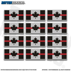 Canada-Thin-Red-Line-Flag-2-034-Sticker-Decal-12-Pack-Canadian-Firefighter-V3-ZU1