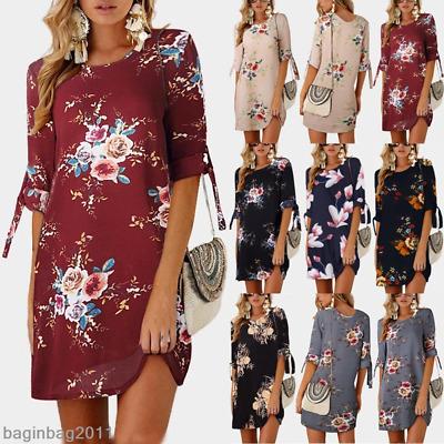 UK Womens Floral Long Tops Blouse Ladies Summer Beach Tunic Dress Plus Size 6-22