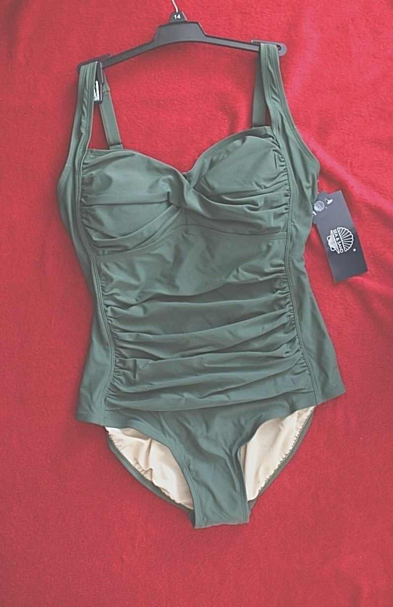 Sea & & & Sand One Piece Twist in Center Cups Olive Green Sz 14 Swimsuit b90257
