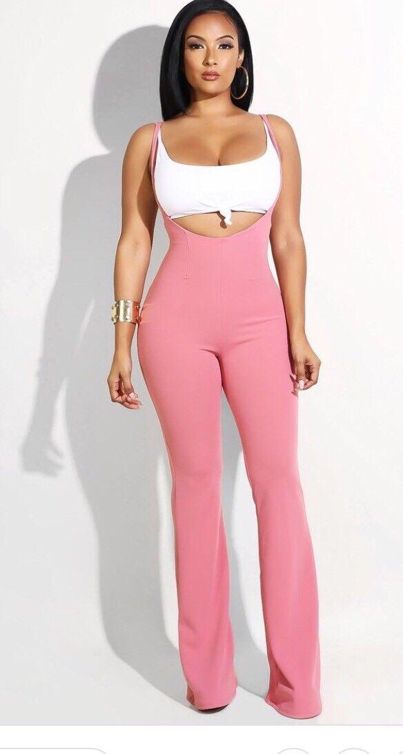 Hottie Suspender Jumpsuit Set Pink M Crop Top