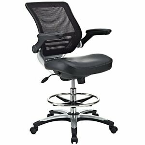 Details About Modway Edge Drafting Chair In Black Vinyl   Reception Desk  Chair   Tall Office C