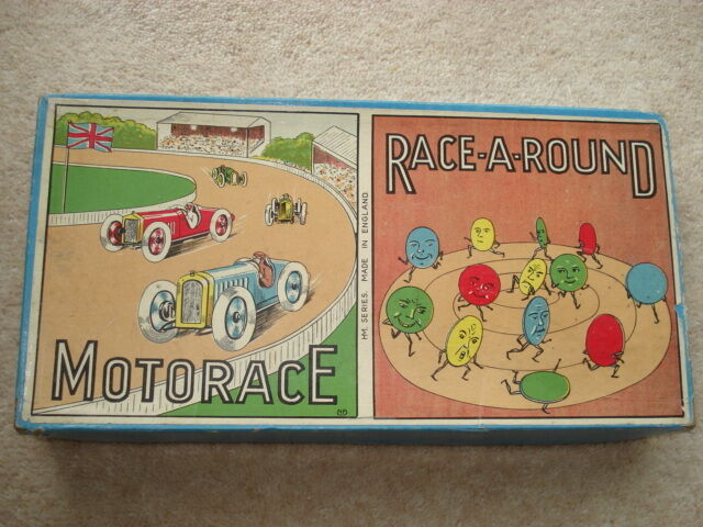 C1920S VINTAGE MOTORACE RACE-A-ROUND BOARD GAME