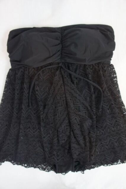 5451e7a1770 INC International Concepts One Piece Sz 16W Black Swimsuit Crochet Swim  470611W