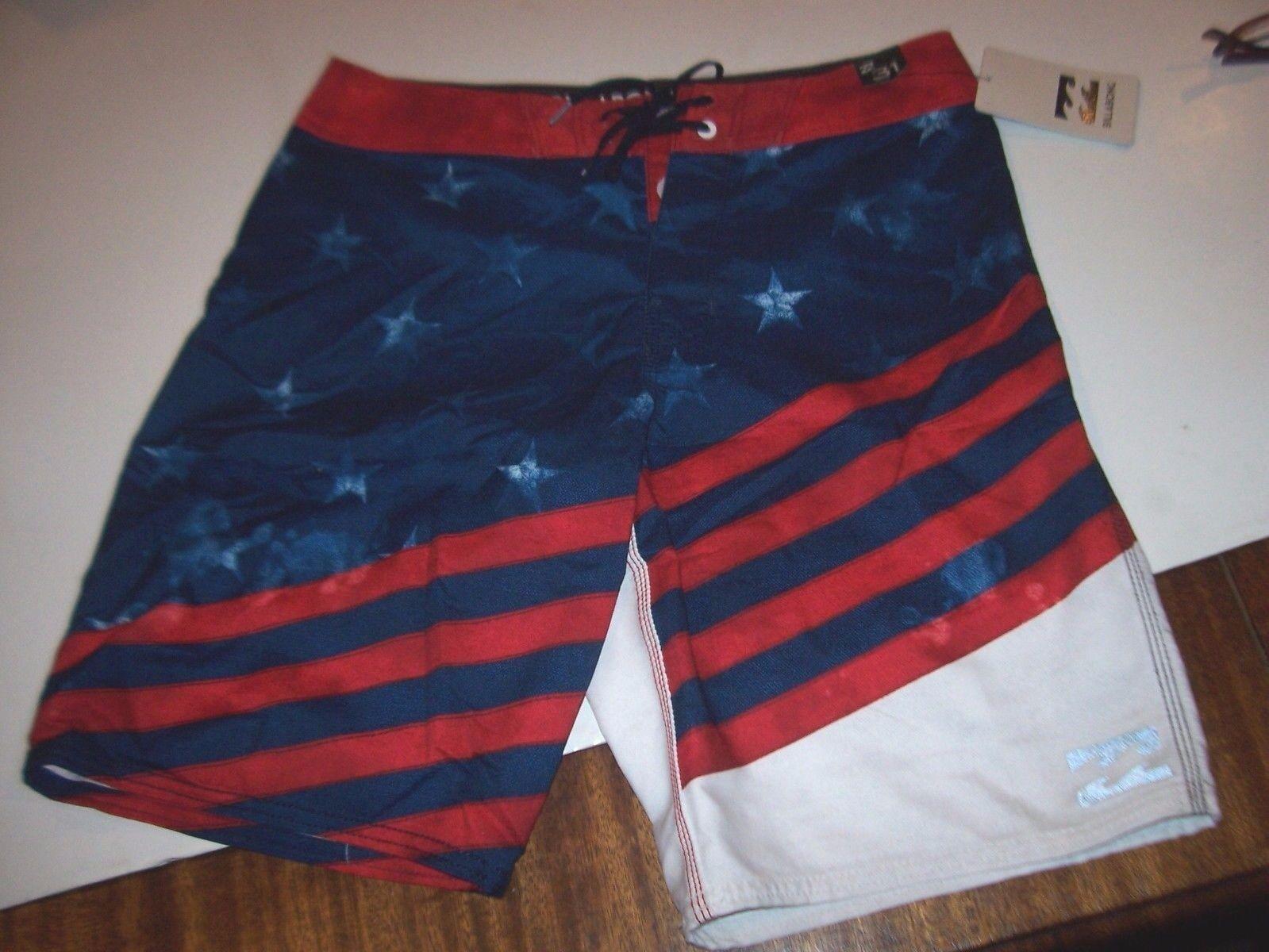 NEW BILLABONG swim board shorts trunks red white bluee American Flag sz 30 or 31