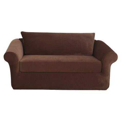 Sure Fit Garnet Stretch Pique 3pc T Cushion Sofa Cover