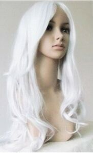 New-Long-Wavy-Silver-white-Wig