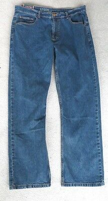 * Bnwt * Bhs Men's 1928 Jeans Blu Gamba Dritta Stretch Regular Fit Rrp £ 20-mostra Il Titolo Originale