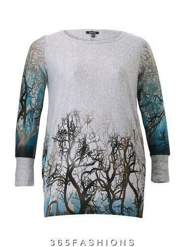SAMYA PLUS SIZE FOREST PRINT KNIT LONG SLEEVE TOP GREY BLUE 16 18 20 22 24 26 28