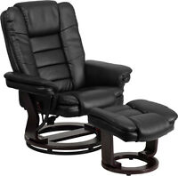 Contemporary Black Leather Recliner And Ottoman - Swiveling Mahogany Wood Base