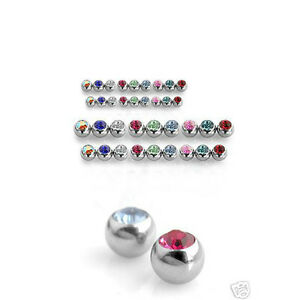 10 Pcs 10 Colors Threaded 316L Surgical Stainless Steel Press Fit CZ Gem Balls