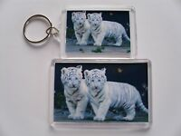 CUTE WHITE TIGERS  Keyring or Fridge Magnet = ideal gift idea !!!!!!!!!