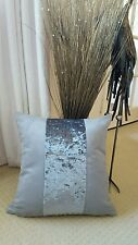 "WHY NEXT ? 18"" GREY FAUX SUEDE /SILVER MARBLE VELOUR STRIPE  CUSHION COVER"