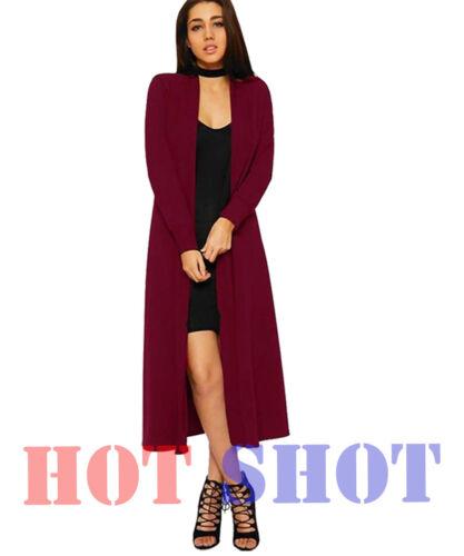 Le donne manica lunga Boyfriend Maxi Cardigan Aperto SVOLAZZANTE A maglia lungo Cappotto Top 8-26