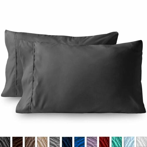 1 Pair Egyptian Cotton Set of 2 Pillow Cases 400 Thread Count Dark Grey Solid