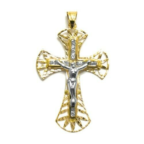 Or 14K magnifique 0.17 Ct Zircone cubique Facette Crucifix Pendentif Croix