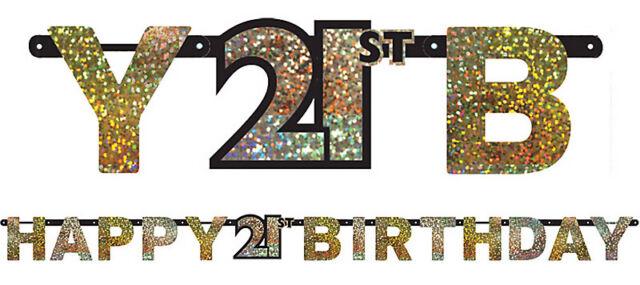 21st Birthday Party Supplies BIRTHDAY BANNER Sparkling Decorations Genuine