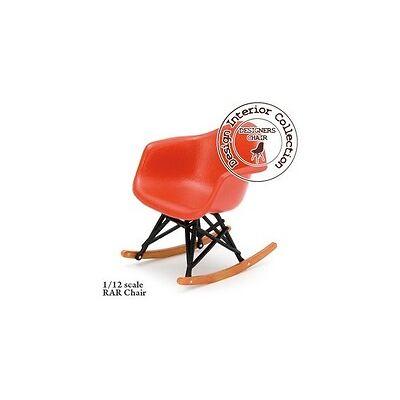 Eames RAR rocking chair In Red, Black & Wood, Dolls House Miniature